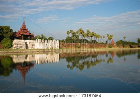Old Bastion and a defensive wall of the Old city. Mandalay. Myanmar