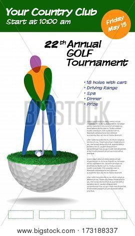 Golf ticket brochure template. Annual golf tournament. Vector illustration