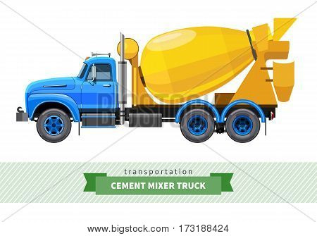 Classic Cement Mixer Truck Side View