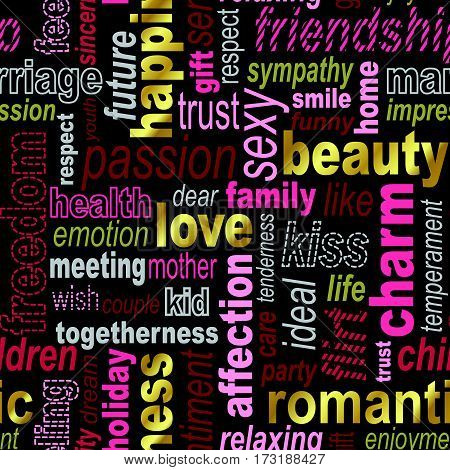 Words collage seamless background. Woman's important feelings wishes and thoughts theme. Bright red pink and gold colors. Vector illustration.
