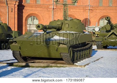 SAINT-PETERSBURG, RUSSIA - JANUARY 20, 2017: Self-propelled artillery unit 2S1