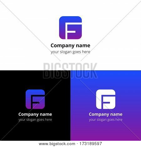 Letter G logo icon flat and vector design template. Monogram G. Logotype G with violet-pink gradient color. Creative vision concept logo, elements, sign, symbol for card, brand, banners.