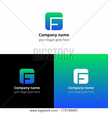 Letter G logo icon flat and vector design template. Monogram G. Logotype G with blue-green gradient color. Creative vision concept logo, elements, sign, symbol for card, brand, banners.