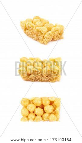 Cornflake balls caramel candy isolated over the white background, set of three different foreshortenings