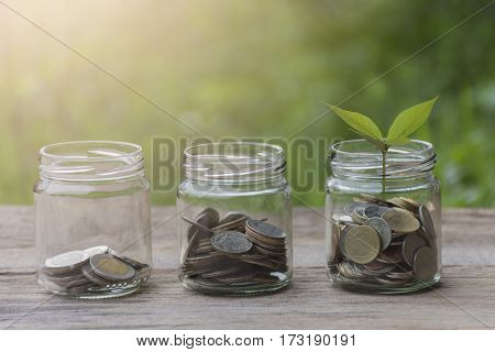 Man hand stacking coins put to the bottle with blur green background . Business Finance and Money conceptSave money for prepare in the future . / productivity growth concept