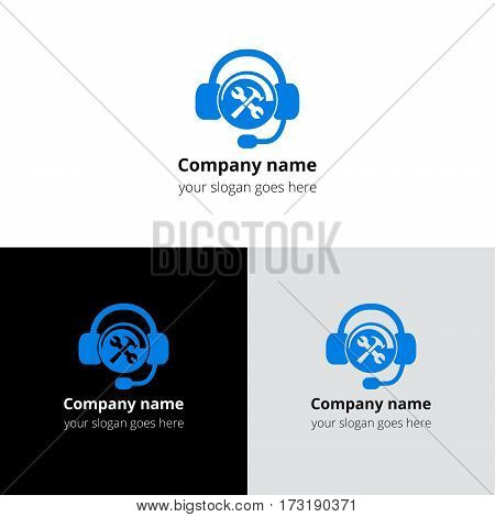 Hotline support service icon, logo. Logotype technical center support help with headphones. Vector concept of consultation, telemarketing, consultant, secretary. Help flat logo with gradient.