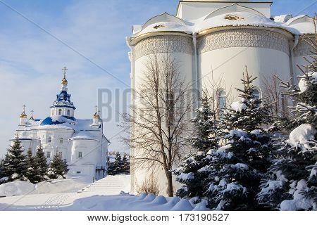 Kazan, Russia, 9 february 2017, Zilant monastery - christian church at winter frozen sunny day, religion concept, wide angle