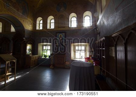 Kazan, Russia, 9 february 2017, Zilant monastery - Inside Christian Church - orthodox church at sunny day, silhouette, horizontal