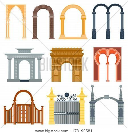 Arch design architecture construction frame classic, column structure gate door facade and gateway building ancient construction vector illustration. Traditional exterior art frame decorative doorway.