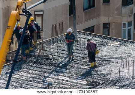 Istanbul, Turkey - November 11, 2016: Construction Workers In A Helmet