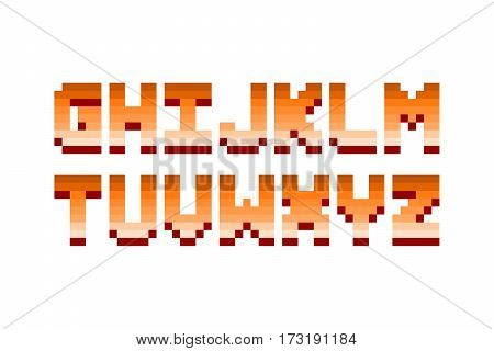 Pixel retro font video computer game design 8 bit letters and numbers electronic futuristic style. Vector abc typeface digital creative alphabet.