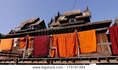 Drying Monk Robe At The Wooden Monastery