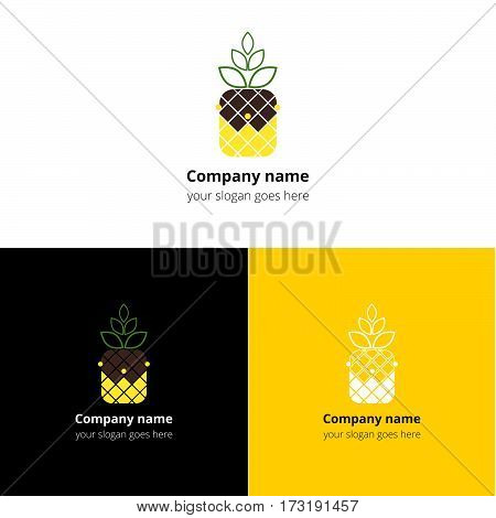 Logo King fruit pineapple. The Pineapple, vitamins, ananas, crown, queen logotype design. Emblem, icon, vector, template. Vision concept for food, greengrocery, vegan, vegetarian, organic company.