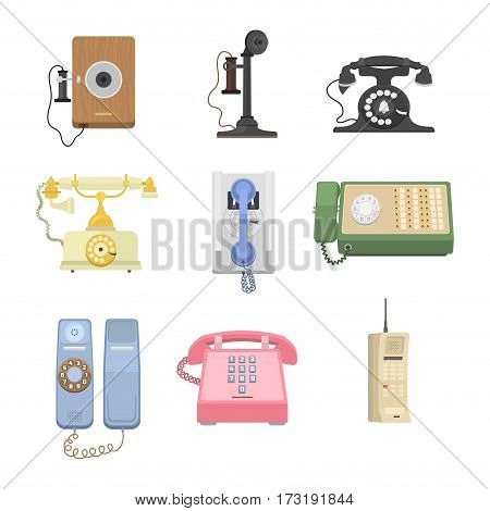 Modern and vintage telephones isolated. Classic technology support symbol, retro mobile equipment. Communication call contact device vector set.