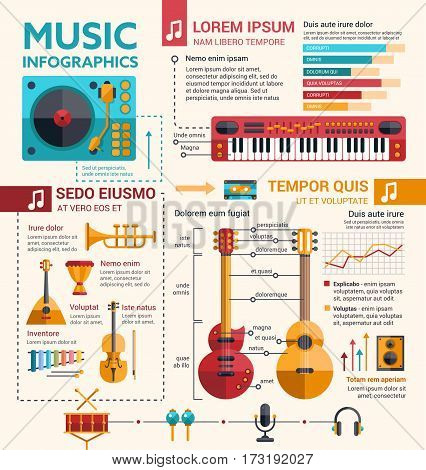 Illustration of different music insruments template of flat design. Icon design for your company or products made in vector graphics.