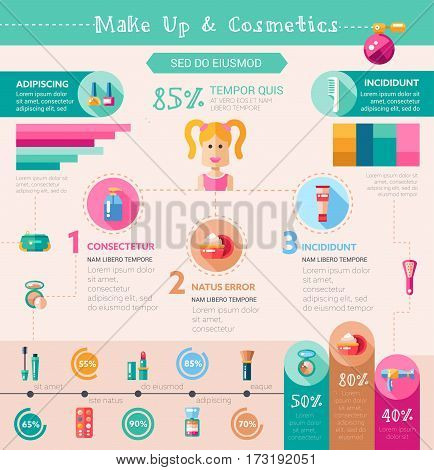 Make up and cosmetics vector infographic template and icons in flat design of modern style with different elements and accessories