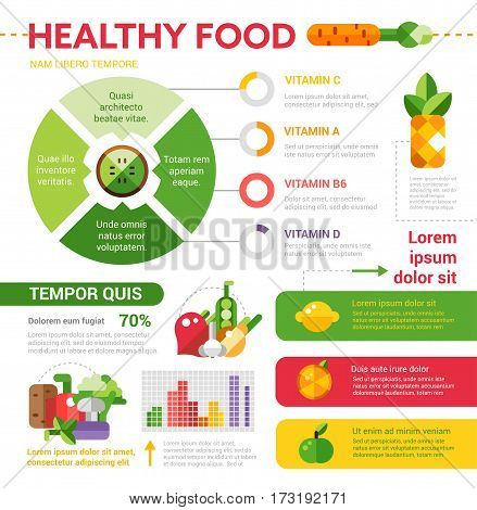 Healthy food vector illustrative template set with infographic elements of modern style. Food staples and copyspace with filler text