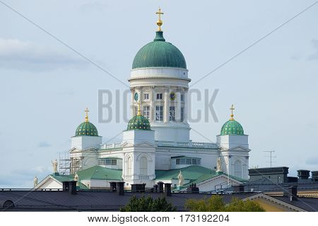 The dome of the cathedral of St. Nicholas closeup. Helsinki, Finland