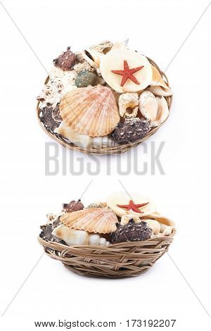 Wicker basket full of sea shells isolated over the white background, set of two different foreshortenings