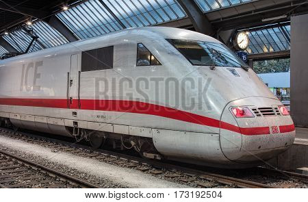 Zurich, Switzerland - 9 October, 2016: a locomotive of a train from Germany at a platform of the Zurich main railway station. Zurich main railway station (German: Zurich Hauptbahnhof or Zurich HB) is the largest railway station in Switzerland.