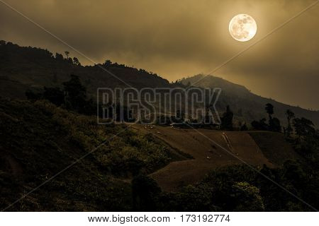 Mountain Peaks With Blue Sky And Beautiful Full Moon.