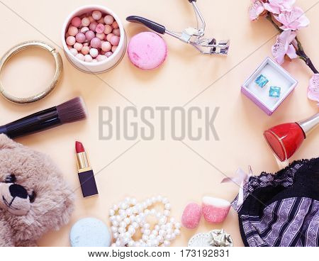 background with accessories and cosmetics for women