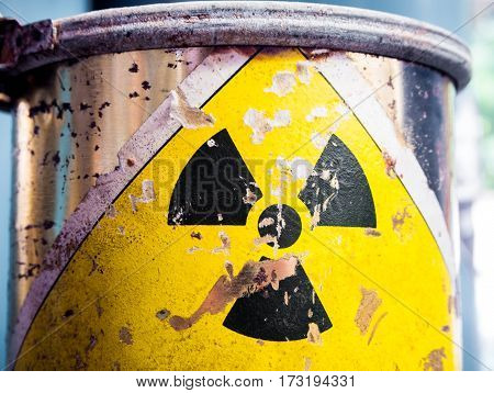 Cylinder shape rusty container of Radioactive material