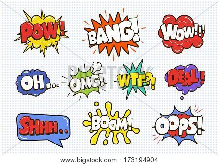 Comic sound speech effect bubbles set isolated on white background vector illustration. Wow, pow, bang, oh, omg, wtf, deal, shhh, boomoops lettering