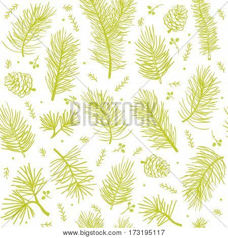 beautiful seamless pattern with branch tree fir and pine
