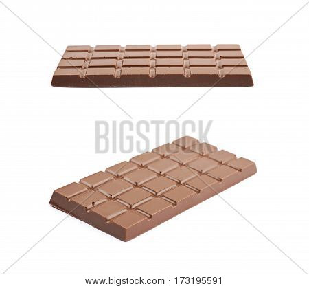 Single chocolate bar isolated over the white background, set of two different foreshortenings