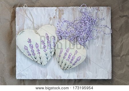 heart with lavender picture on the background of old . Soft focus toning background mode.