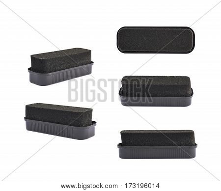 Black shoe polish sponge isolated over the white background, set of five different foreshortenings