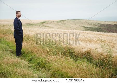 Thoughtful farmer standing in field on a sunny day
