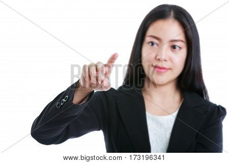Pretty Woman Touching At Something, Presenting On White Background.