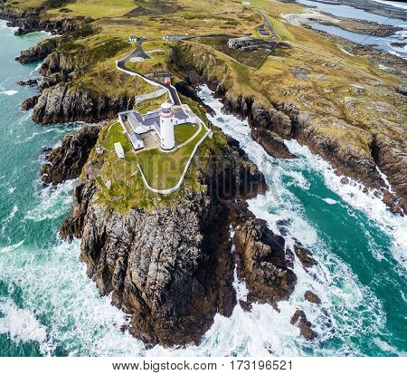 Aerial of the historic Fanad Head Lighthouse