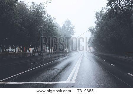 foggy city street in a rainy day