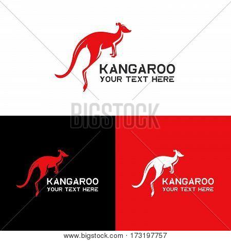 Kangaroo logo, icon vector design template. Animal symbol on black and white background for logo. Icon kangaroo or zoo.