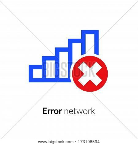 Error, wrong, incorrect, disconnect, bad antenna, not available, no signal stop symbol with network, connect, internet Wi-Fi, WLAN, blue icon on black background for computer or mobile interface.