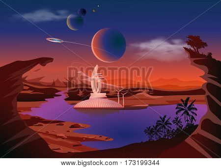 Trappist-1 system. Exoplanets. Space landscape, the colonization of the planets