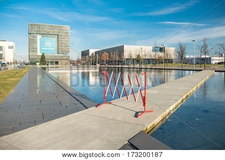 ESSEN / GERMANY - JANUARY 06 2017 : Thyssenkrupp headquarters under the sun