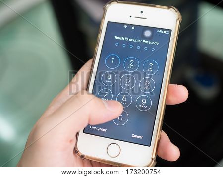 photo of unlocking password screen in smartphone