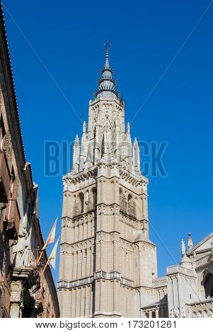 A tower of the Primate Cathedral of Saint Mary of Toledo on sunny winter day Castilla-La Mancha Spain.