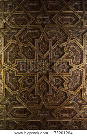 TOLEDO SPAIN - FEBRUARY 8 2017: A ceiling of the Primate Cathedral of Saint Mary of Toledo decorated with mudejar style elements and geometry figures Castilla-La Mancha Spain.