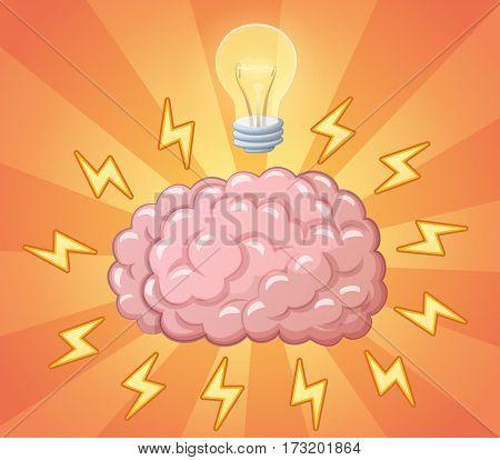 Brain and ligh bulb as idea, concept