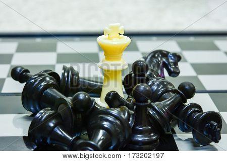 white king chess winner black chess concept chess business