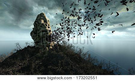horror island in ocean. devilish screaming skull. Halloween concept. 3d rendering