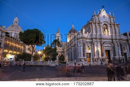 CATANIA ITALY - JANUARY 01: View of Catania cathedral and church of the abbey of Sant 'Agata on January 01 2017