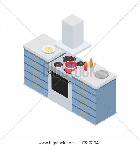 Four-burners cooker isolated. At restaurant kitchen. Isometric 3d. Process of meal preparing. Sauce bottles and tray are on workplace. Modern cooking appliance. Flat style design. Vector illustration