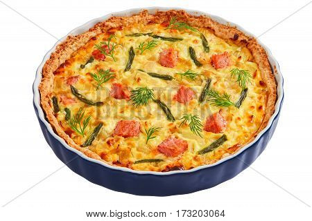 Quiche With Salmon Isolated On White Background