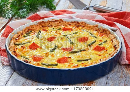 Quiche With Salmon, Green Bean And Emmental Cheese